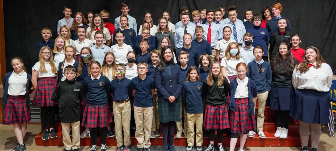 Montana Secretary of State Christi Jacobsen visited students and staff of St. Andrew School in Helena, delivering Constitutions and answering questions.