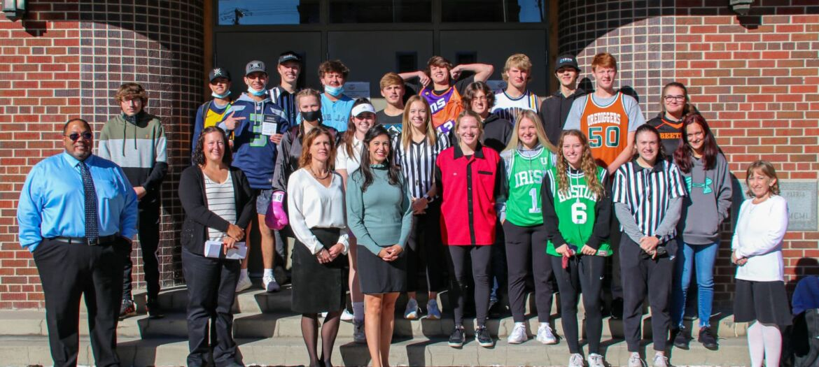 Montana Secretary of State Christi Jacobsen (front) delivered US/Montana Constitutions to Butte Central Catholic High School.
